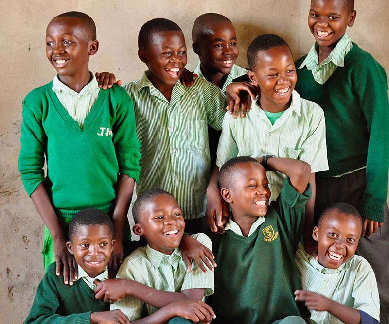 Nine children at a Zambian school that is partnered with Beyond Ourselves